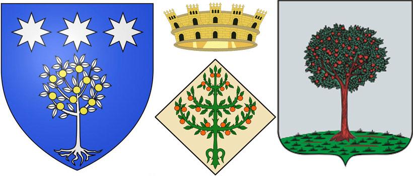 Апельсин на гербе коммуны Патримонио, гербе муниципалитета Черта ина гербе г.Ломоносов.