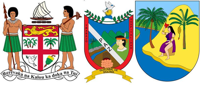 Бананы на гербах Фиджи,  Гуаябал де Сиквима и  Антьокия