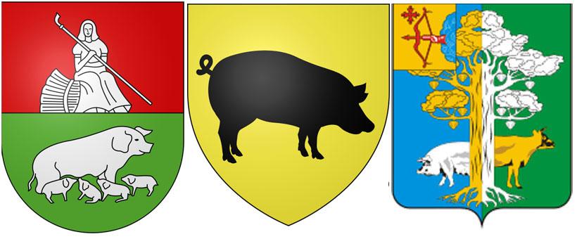 Свинья на гербекоммуны Моркоте,  муниципалитета Фо-сюр-Мер (Франция) ина гербе Кирово-Чепецкого района