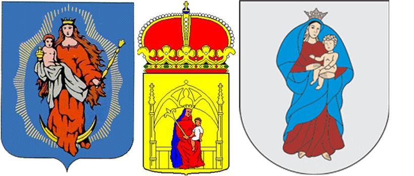 Богородица на гербах поселка ГТ Лопатин, Дренте и Кретинга