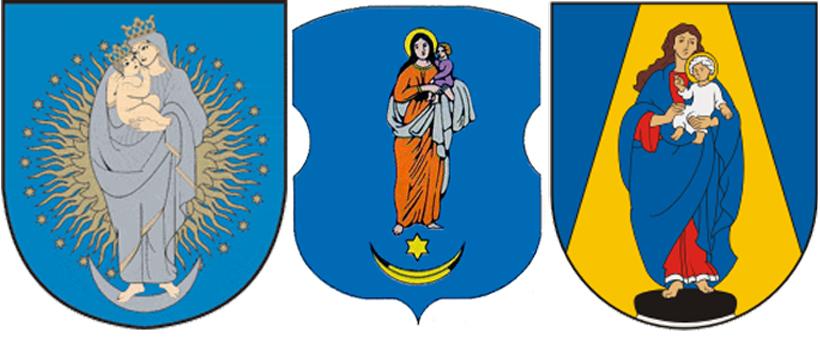 Богородица с сыном на гербахЭйшишкес, ПГТ Копайгород иШилува