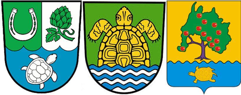 Черепаха на гербах  Хоппегартен,  Грюнхайде и Приволжского района