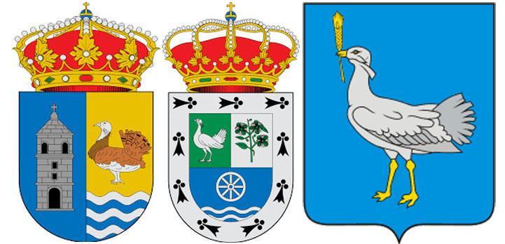 Дрофа на гербах Вильяррин-де-Кампос, Вальдеполо и Большеглушицкого района