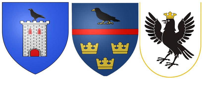 Галка на гербах  Кормиси,  Галичины ина Ивано-Франковской области