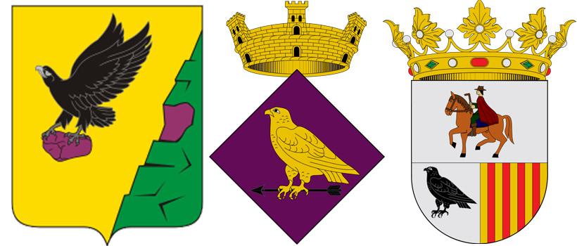 Коршун на гербах Тюльганского района, Эль-Мила и Адзанета-де-Альбайда
