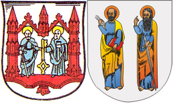 Апостолы Петр и Павел на гербах п.Железнодорожный иг.Узда