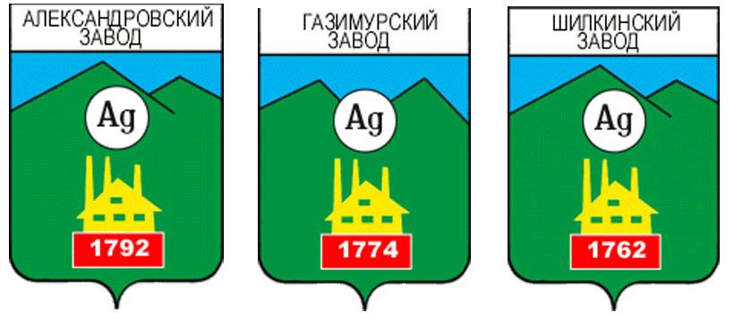 Серебро на гербах городов Александровский завод, Гизимурский завод и Шипкинский завод Забайкальского края