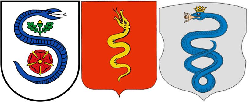Змея на гербах Шланген, с.Змеевка и г.Пружаны