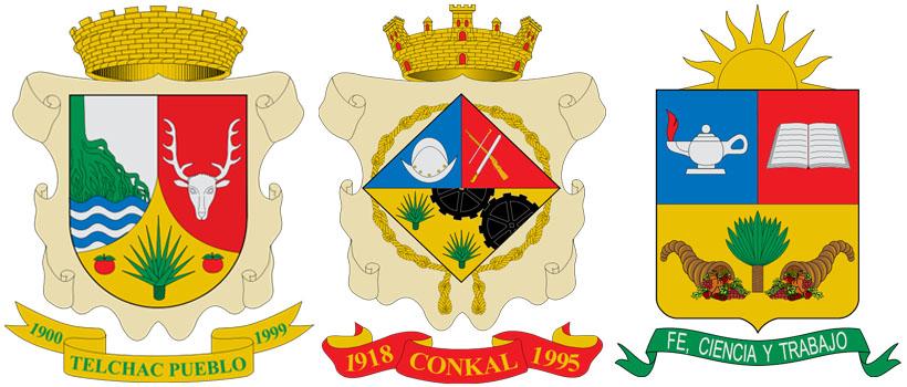 Агава на гербах посёлка Тельчак-Пуэбло и городка Конкаль (Юкатан, Мексика); а также города Сан-Висенте (Антьокия, Колумбия)