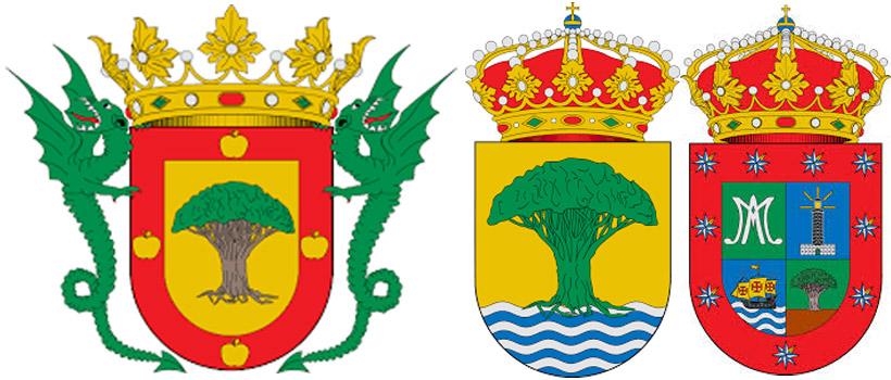 Драцена на гербах Ла-Оротава,  Алахеро и Барловенто