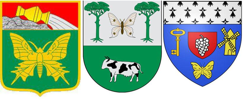 Бабочка на гербе СП Пригородное, на гербе  Пегеринос и на гербе  Монньер