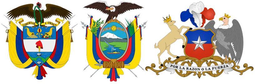 Кондоры на гербах Колумбии, Эквадора и Чили