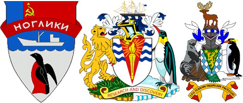 Пингвин на гербах города Ноглики, Британской антарктической территории и на гербе Южной Георгии и Южных Сандвичевых островов