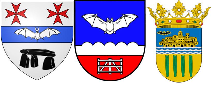 Летучая мышь на гербах  Массак,  Фифберген  и  Катарроха