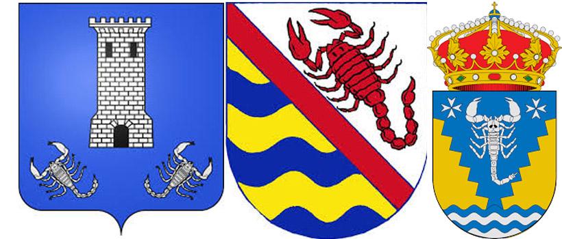 Скорпион на гербах  Сувиньярг, Слатинице и Альфантега