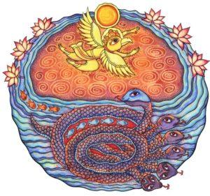 Змей Калия прячется в реке