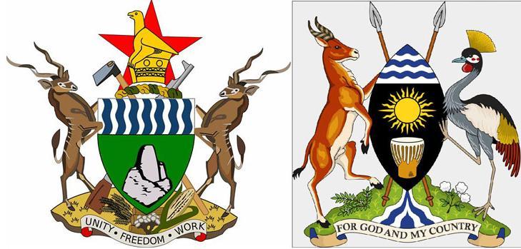 Антилопа на гербах Зимбабве и Уганды
