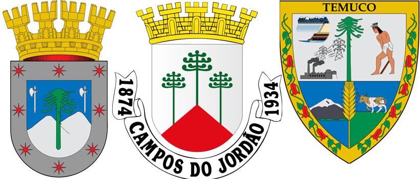 Араукария на гербах Куракаутин,  Кампус-ду-Жордан иТемуко
