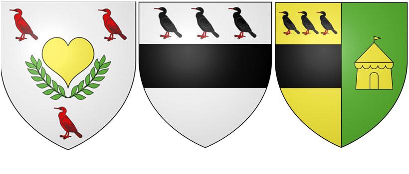 Баклан на гербе Труаво, на гербе Биря и на гербе Балингем.
