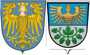 Гарпия на гербах   Нюрнберга  и  общины Лайнбург    (Германия)