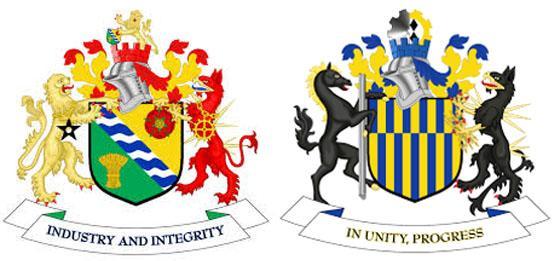 Кайсонг на гербах  района Большого Манчестера и Совета района в Тайн и Уир