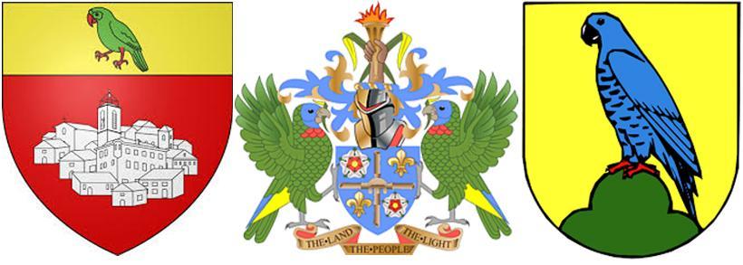 Попугай на гербах Ле-Бурге, Сент-Люсии и Цвениц