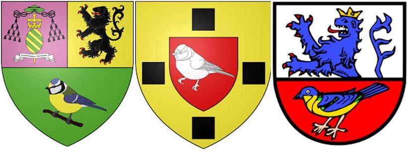 Синица на гербах Мазенг'ян,  Мезангвиль и Майзенхайм