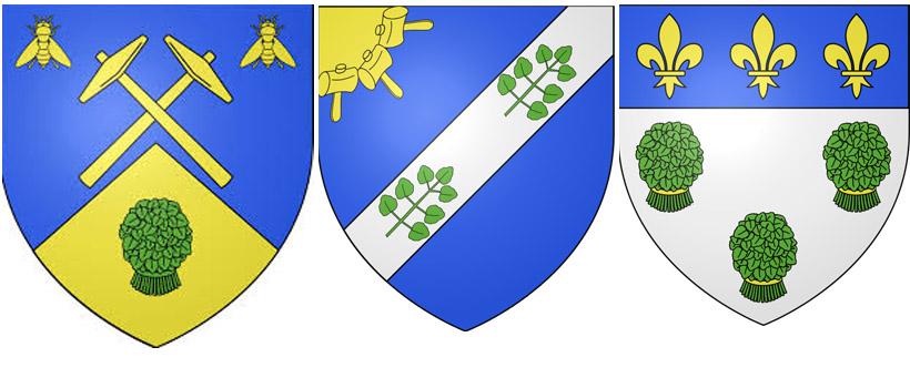 Водяной кресс на гербахД'Юизон-Лонгвиль,  Каи-сюр-Ер  и Вернон