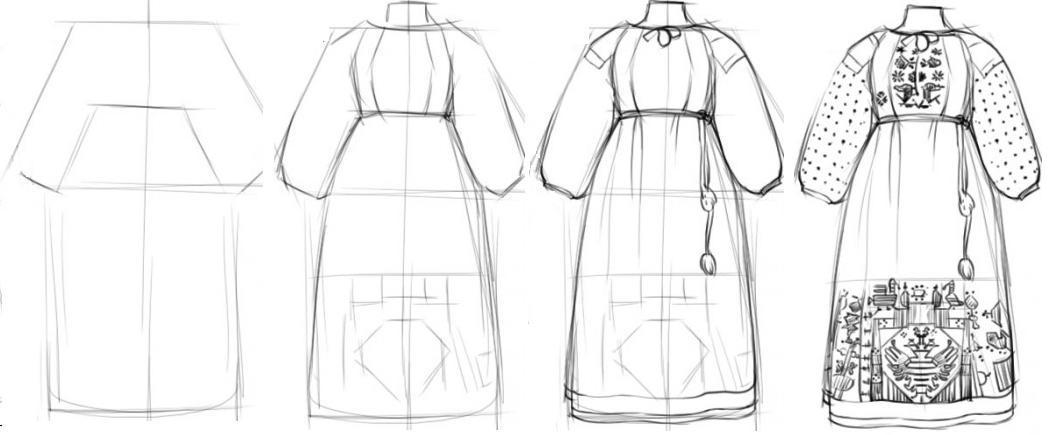 ... как самому нарисовать русский народный костюм карандашом. костюм- поэтапно- 39218fb4bd66d
