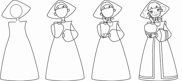 Рисуем русский костюм на основе сарафана. костюм-поэтапно- 92669601a4d29