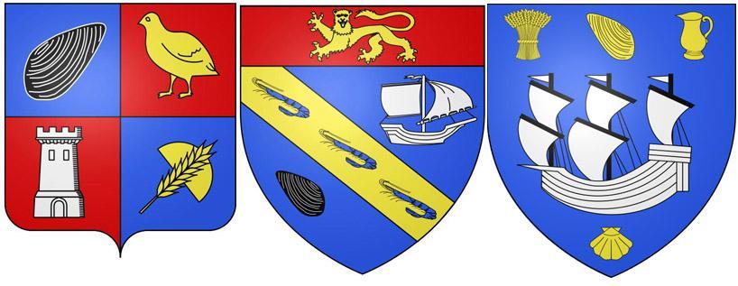 Мидии на гербах Шаррон, Виллервиль и Гранкан-Мези