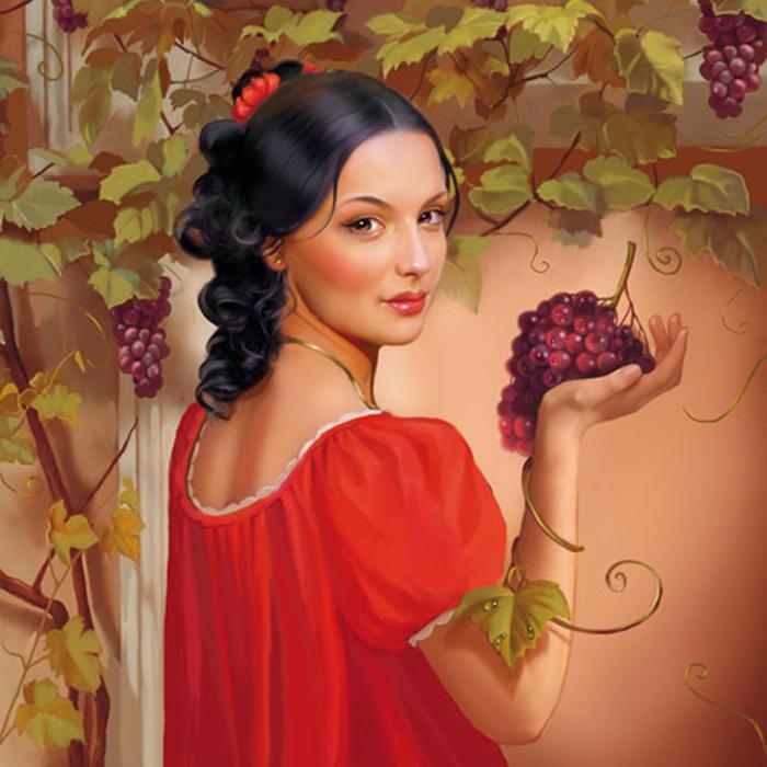 девушка и виноград картина улучшает координацию